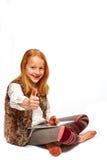 Meisje met tabletportret Stock Fotografie