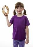 Meisje met tamboerijn Stock Afbeeldingen