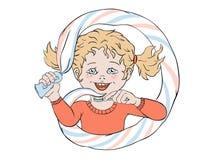 Meisje met tandpasta Royalty-vrije Stock Fotografie