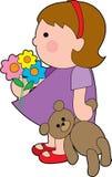 Meisje met teddy stock illustratie