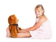 Meisje met teddy-beer Stock Foto