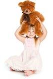 Meisje met teddy-beer Royalty-vrije Stock Afbeeldingen