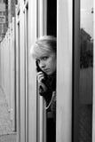 Meisje met telefoon Stock Foto's
