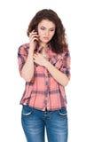 Meisje met telefoon Stock Fotografie
