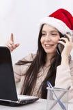 Meisje met telefoon en computer stock afbeeldingen