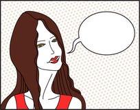Meisje met toespraakbel stock illustratie