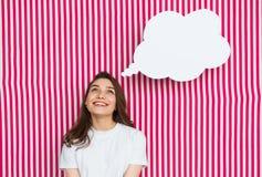 Meisje met toespraakbel Stock Afbeeldingen