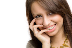 Meisje met toothy glimlach royalty-vrije stock afbeelding