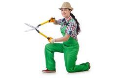 Meisje met tuinschaar Stock Fotografie