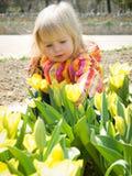 Meisje met tulpen Stock Foto