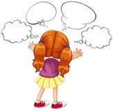 Meisje met vele gedachtenbellen Stock Afbeeldingen
