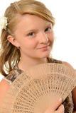 Meisje met ventilator Royalty-vrije Stock Afbeelding
