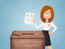Meisje met verkiezingsstemming vector illustratie