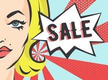 Meisje met Verkoopteken Vectorillustratie in Pop Art Style Stock Foto