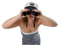 Meisje met verrekijkers Stock Afbeelding
