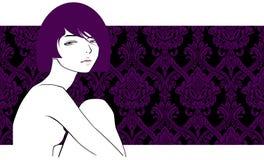 Meisje met violet haar Stock Foto's