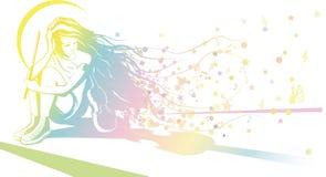 Meisje met viool het dromen vector illustratie