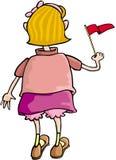 Meisje met Vlag stock illustratie