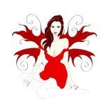 Meisje met vleugels rode kleding Stock Foto