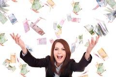 Meisje met vliegend geld. Stock Foto's