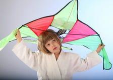 Meisje met vlieger Stock Afbeeldingen