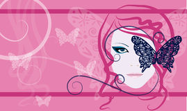 Meisje met vlinder Stock Foto
