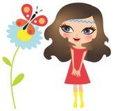 Meisje met vlinder Stock Foto's