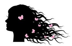Meisje met vlinders in haar Stock Foto's
