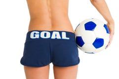 Meisje met voetbalbal Royalty-vrije Stock Afbeelding