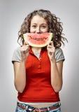 Meisje met Watermeloen Stock Afbeeldingen