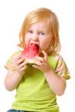 Meisje met watermeloen Stock Afbeelding