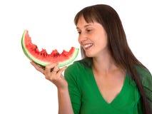 Meisje met watermeloen Stock Foto