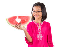Meisje met Watermeloen II Stock Foto's