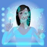 Meisje met wereldkaart Stock Fotografie