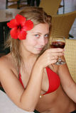 Meisje met wijn Royalty-vrije Stock Fotografie