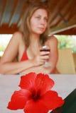 Meisje met wijn Stock Afbeeldingen