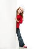 Meisje met witte raad Stock Afbeeldingen