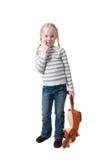 Meisje met zacht in hand stuk speelgoed Stock Afbeeldingen