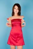 Meisje met zand-glas Stock Fotografie