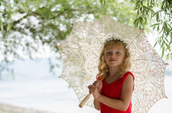 Meisje met zonnescherm Royalty-vrije Stock Fotografie
