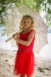 Meisje met zonnescherm Royalty-vrije Stock Foto's