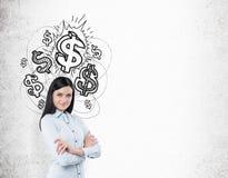 Meisje met zwart haar en glanzende dollartekens Stock Foto's