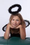 Meisje met zwarte halo Stock Afbeelding