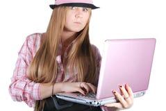 Meisje, model, achtergrond, bureau, blonde Stock Foto's