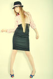 Meisje, model, achtergrond, bureau, blonde Royalty-vrije Stock Afbeelding