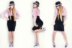Meisje, model, achtergrond, bureau, blonde Royalty-vrije Stock Afbeeldingen