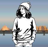 Meisje in modieuze kleren hipster Vector illustratie Stock Afbeeldingen