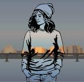 Meisje in modieuze kleren hipster Vector illustratie Royalty-vrije Stock Afbeelding