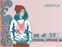 Meisje in modieuze kleren hipster Vector illustratie Stock Foto