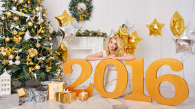 Meisje Nieuw jaar 2016 Royalty-vrije Stock Afbeeldingen